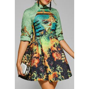 Fit and Flare Mini Cheongsam Dress