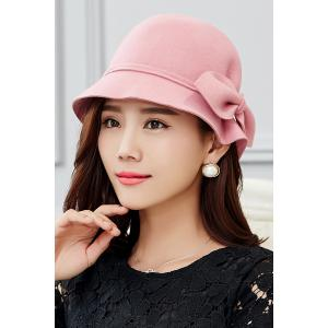 Outdoor Big Bowknot Wool Cloche Hat
