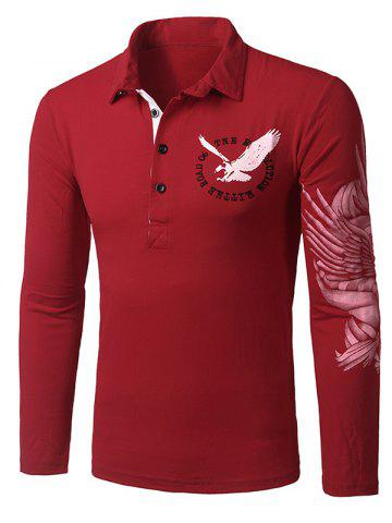 Trendy Stylish Turn-down Collar Animal Eagle Print Hit Color Long Sleeves Polo T-Shirt For Men