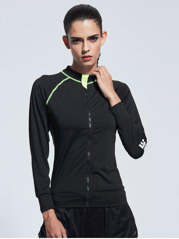 Latest Zipper Bodycon Yoga Jacket - XL BLACK Mobile