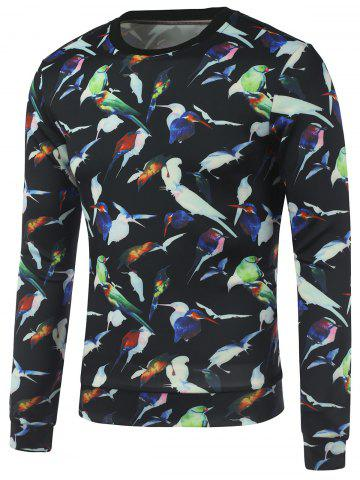 Fancy All Over Birds Printed Crew Neck Sweatshirt BLACK XL