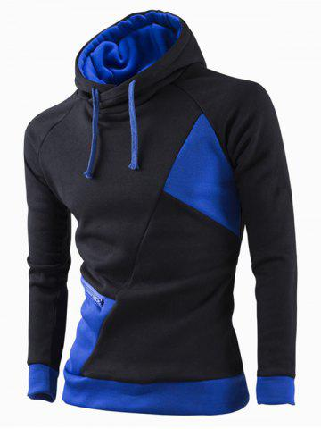Trendy Inclined Zipper Classic Color Lump Splicing Rib Hem Slimming Hooded Long Sleeves Men's Hoodie - SAPPHIRE BLUE 2XL Mobile