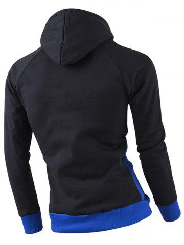 Shop Inclined Zipper Classic Color Lump Splicing Rib Hem Slimming Hooded Long Sleeves Men's Hoodie - SAPPHIRE BLUE 2XL Mobile