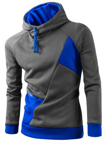 Shop Inclined Zipper Classic Color Lump Splicing Rib Hem Slimming Hooded Long Sleeves Men's Hoodie