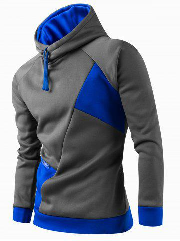 Unique Inclined Zipper Classic Color Lump Splicing Rib Hem Slimming Hooded Long Sleeves Men's Hoodie - M AZURE Mobile