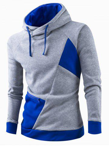 Buy Inclined Zipper Classic Color Lump Splicing Rib Hem Slimming Hooded Long Sleeves Men's Hoodie BLUE 2XL