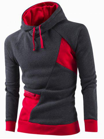 Latest Inclined Zipper Classic Color Lump Splicing Rib Hem Slimming Hooded Long Sleeves Men's Hoodie RED XL