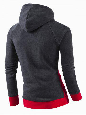 Affordable Inclined Zipper Classic Color Lump Splicing Rib Hem Slimming Hooded Long Sleeves Men's Hoodie - RED XL Mobile