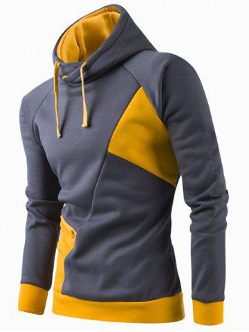 Fancy Inclined Zipper Classic Color Lump Splicing Rib Hem Slimming Hooded Long Sleeves Men's Hoodie YELLOW M