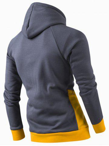 Chic Inclined Zipper Classic Color Lump Splicing Rib Hem Slimming Hooded Long Sleeves Men's Hoodie - YELLOW 2XL Mobile