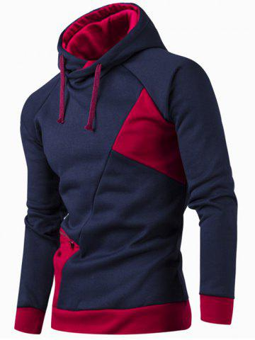 Chic Inclined Zipper Classic Color Lump Splicing Rib Hem Slimming Hooded Long Sleeves Men's Hoodie CADETBLUE XL