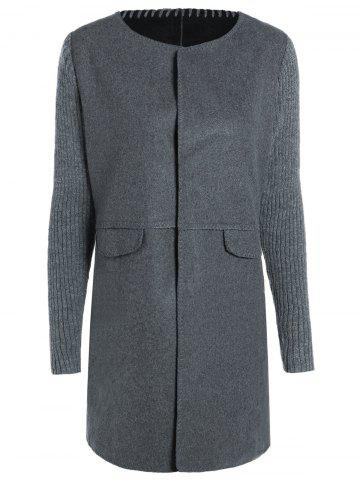 Affordable Round Neck Knitted Sleeve Spliced Single-Breasted Coat DEEP GRAY 2XL
