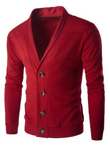 Fashion Single-Breasted Color Splicing Turn-down Collar Long Sleeves Slimming Men's Casual Cardigan RED M