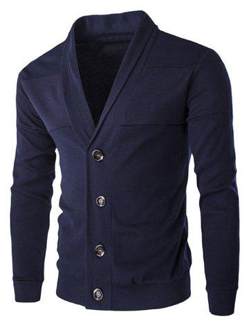 Chic Single-Breasted Color Splicing Turn-down Collar Long Sleeves Slimming Men's Casual Cardigan