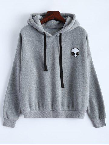Trendy Sporty Long Sleeve Drawstring Alien Pattern Hoodie