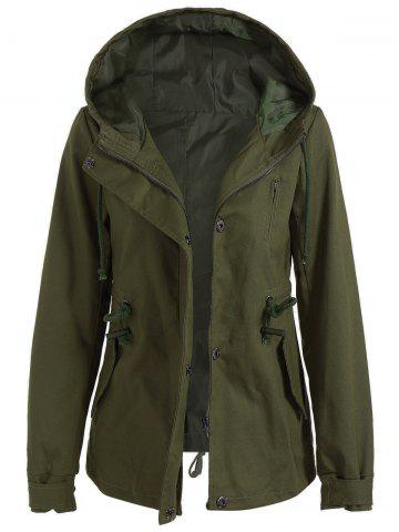 Chic Drawstring Cargo Jacket with Hood ARMY GREEN L