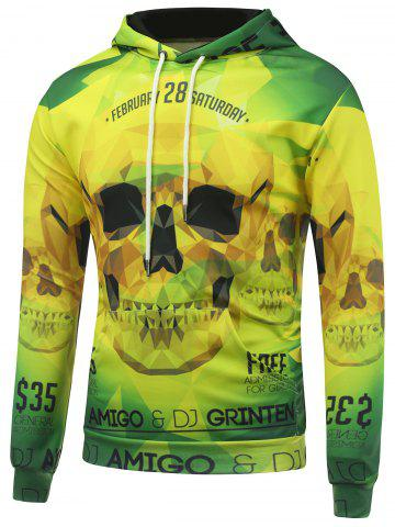 New 3D Skull Printed Long Sleeve Drawstring Hoodie YELLOW/GREEN 5XL