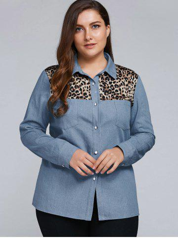 Sale Plus Size Leopard Trim Denim Shirt