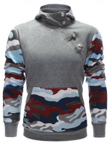 Chic Camo Insert Buttoned Side Zip Up Hoodie GRAY XL
