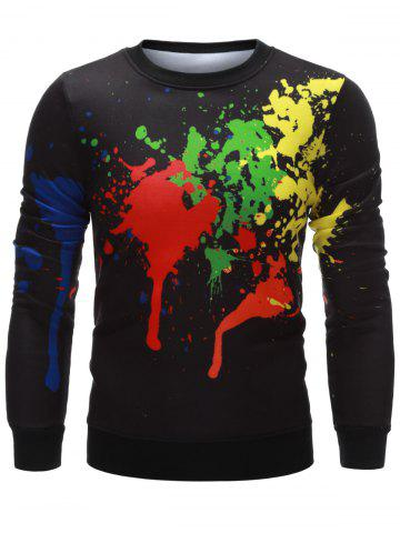 Paint Splatter Printing Crew Neck Sweatshirt