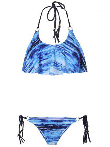 Halter Padded Lace Up Bikini Set - BLUE XL