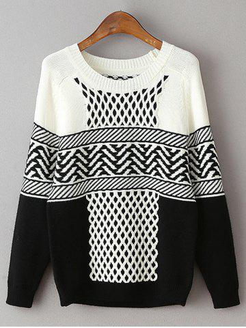 Affordable Geometric Net Pattern Loose Sweater BLACK ONE SIZE