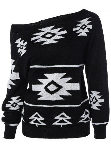 Chic Long Sleeve Geometric Pullover Convertible Sweater BLACK XL