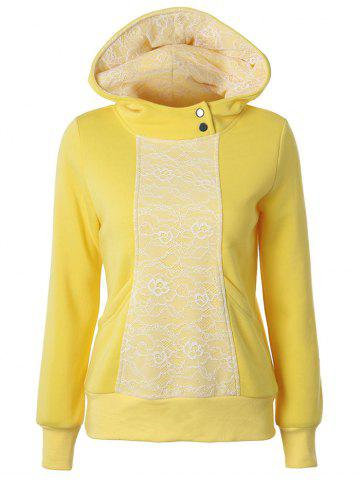 Buy Lace Detail Pullover Yellow Hoodie