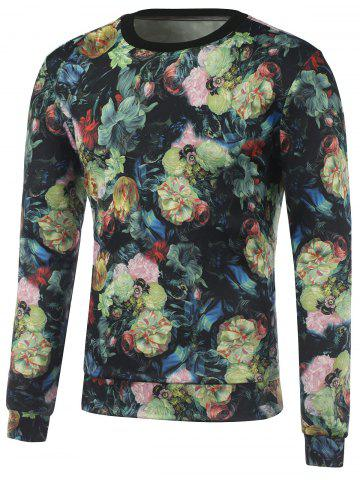 Outfits Flowers 3D Printed Crew Neck Sweatshirt FLORAL L