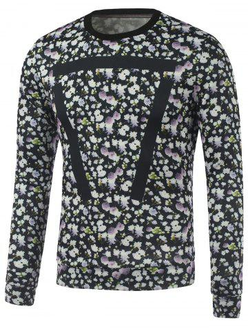 Outfits Crew Neck Geometric Printed Floral Sweatshirt