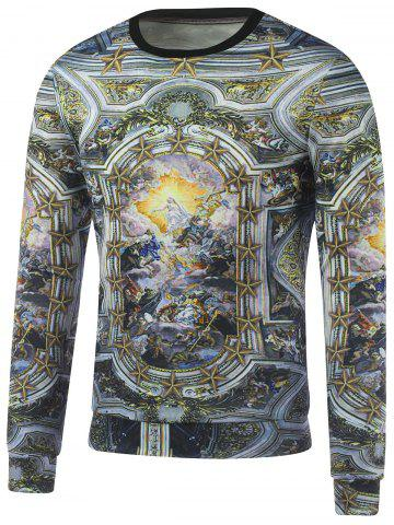 Affordable Crew Neck Religious Printed Sweatshirt GOLDEN XL