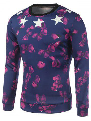Latest Petal and Star Printed Crew Neck Sweatshirt DEEP BLUE XL