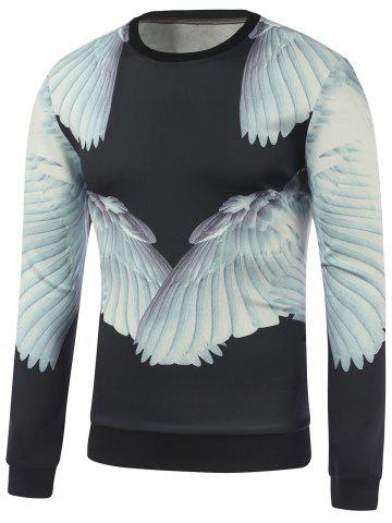 Cheap Crew Neck 3D Wing Printed Sweatshirt BLACK XL