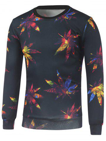 Fancy Crew Neck Maple Leaves Printed Sweatshirt BLACK L