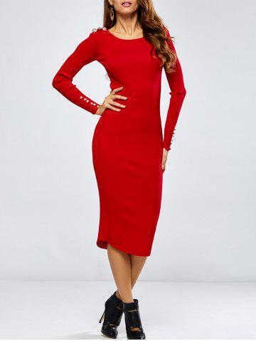 Cheap Buttoned Long Sleeve Pencil Knitting Dress