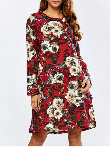 Fashion Floral Loose Long Sleeve Dress