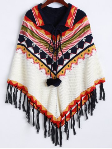Discount Lace-Up Fringed Cape Sweater