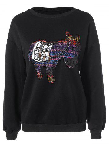 Shops Patched Animal Loose Sweatshirt