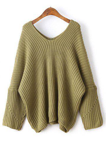 Loose Dolman Sleeve Chunky Sweater - Yellow Green - One Size