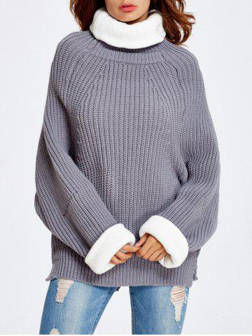 Discount Back Slit Drop Shoulder Chunky  Sweater GRAY ONE SIZE