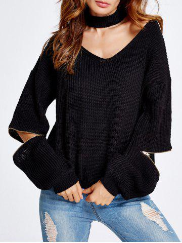 Shops Zipper Sleeve Choker Crop Sweater