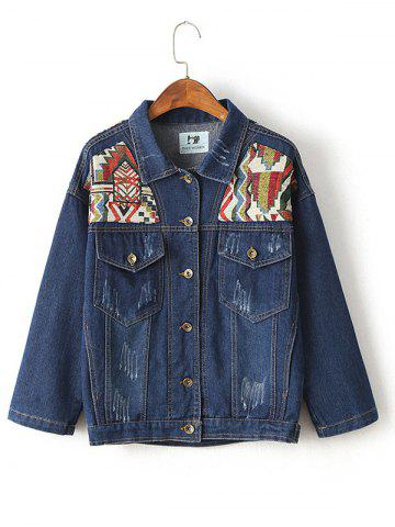 Chic Ribbed Ethnic Embroidered Jean Jacket