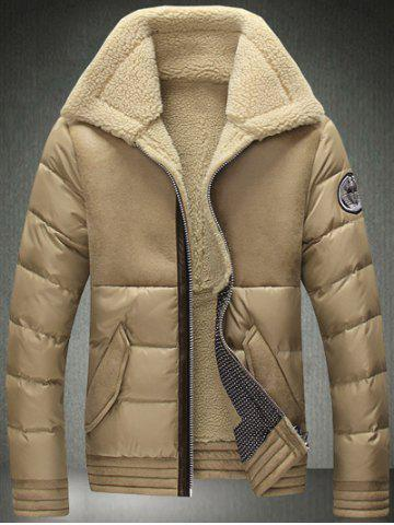 Buy Turndown Collar Zip-Up Flocking Down Jacket KHAKI L