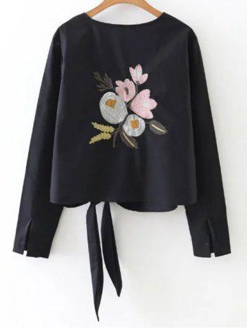 Latest Floral Embroidery Tie Blouse