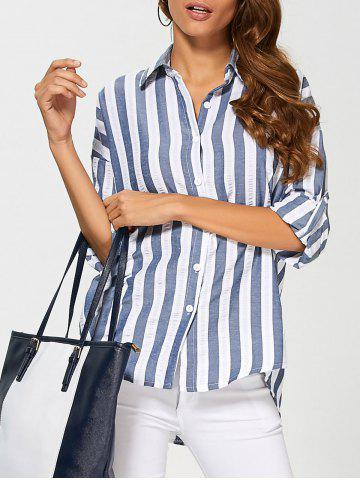 Online Striped Drop Shoulder Formal Shirt DEEP BLUE 2XL
