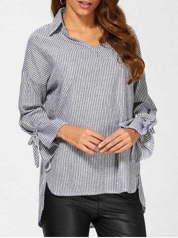 Chic Pinstriped High Low Blouse