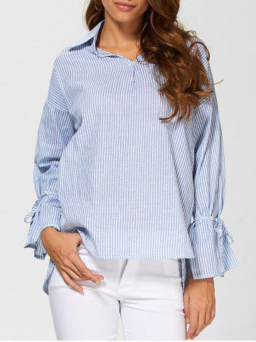 New Pinstriped High Low Blouse LIGHT BLUE L