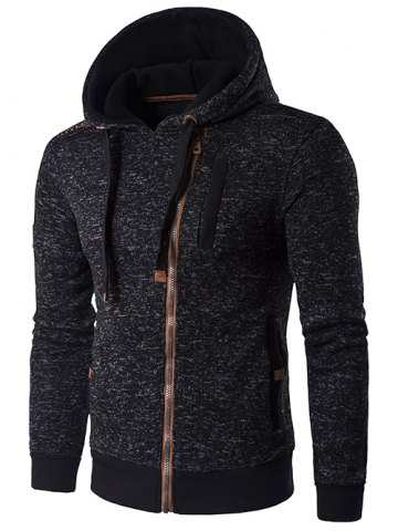 Best Hooded Oblique Zip-Up Edging Design Hoodie DEEP GRAY XL