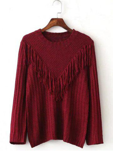 Chic V Fringed Pullover Sweater
