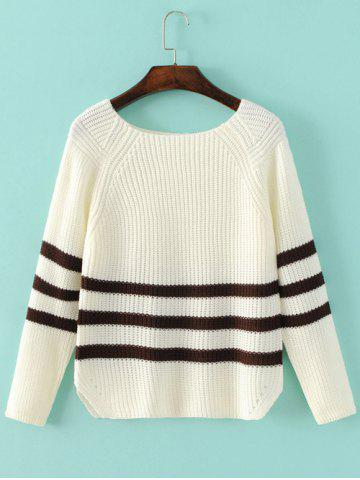 Fancy Striped Sweater WHITE ONE SIZE